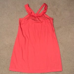 J. Crew Coral Cotton Dress with Ruffle Detail